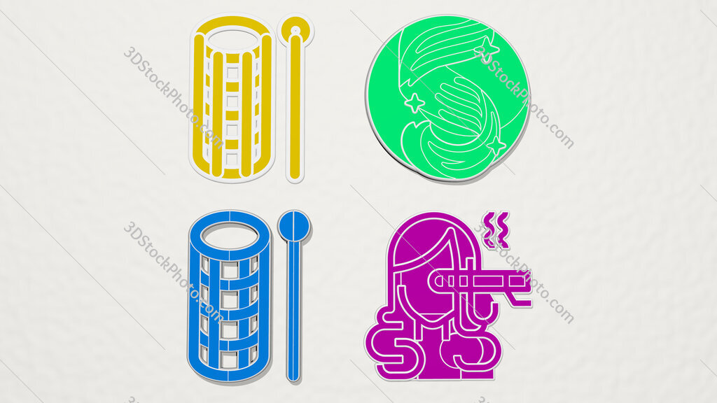 curl colorful set of icons