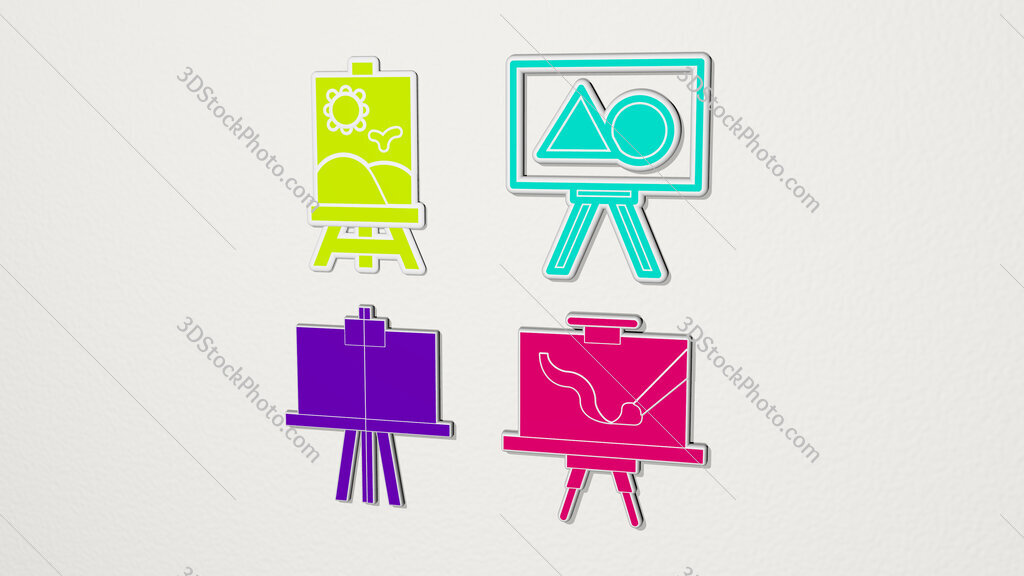 canvas colorful set of icons
