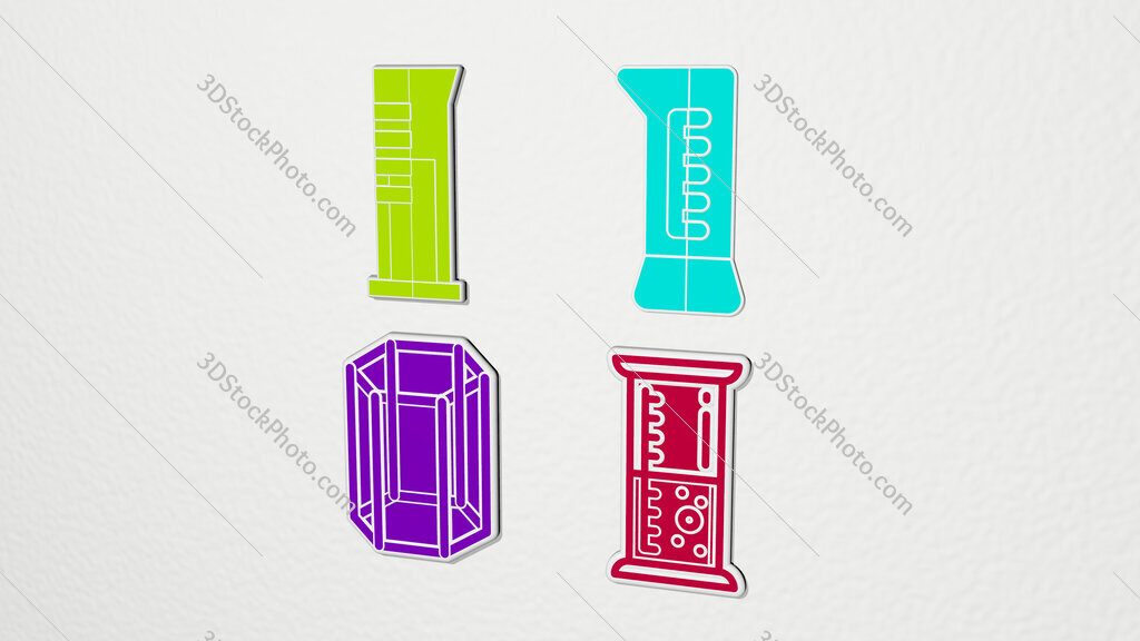 cylinder colorful set of icons