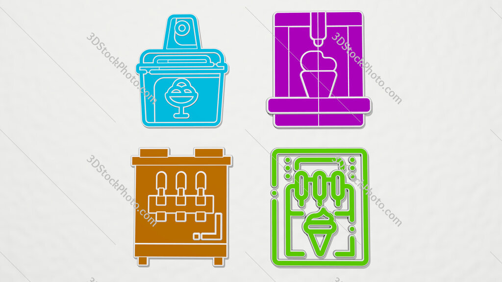 ice cream machine colorful set of icons