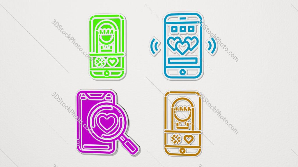 dating app colorful set of icons