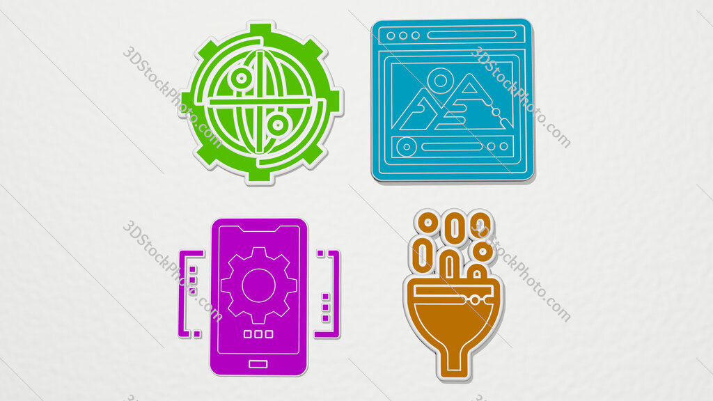 seo and web colorful set of icons