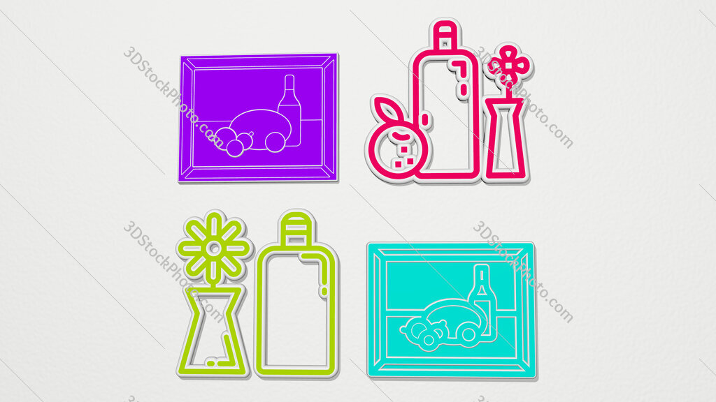 still life colorful set of icons