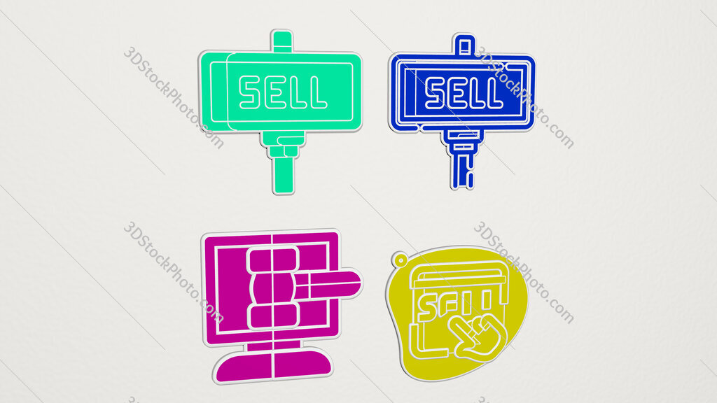 sell colorful set of icons