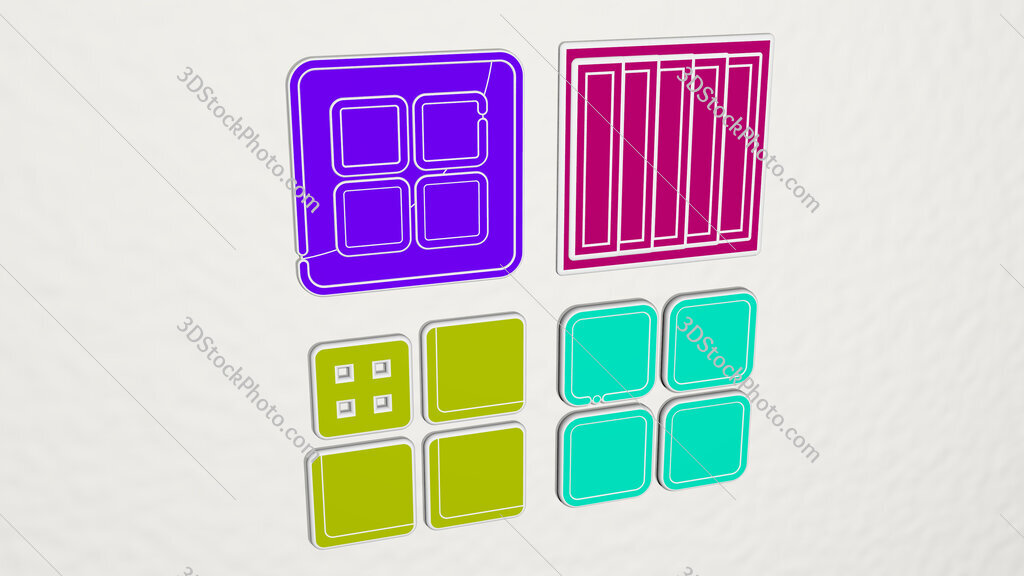 tile colorful set of icons