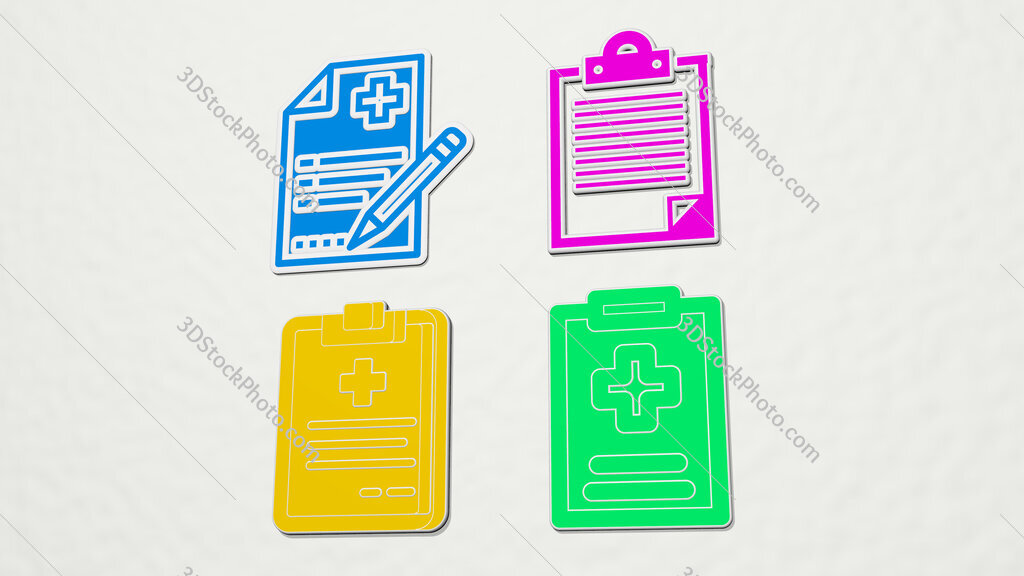 clinic history colorful set of icons