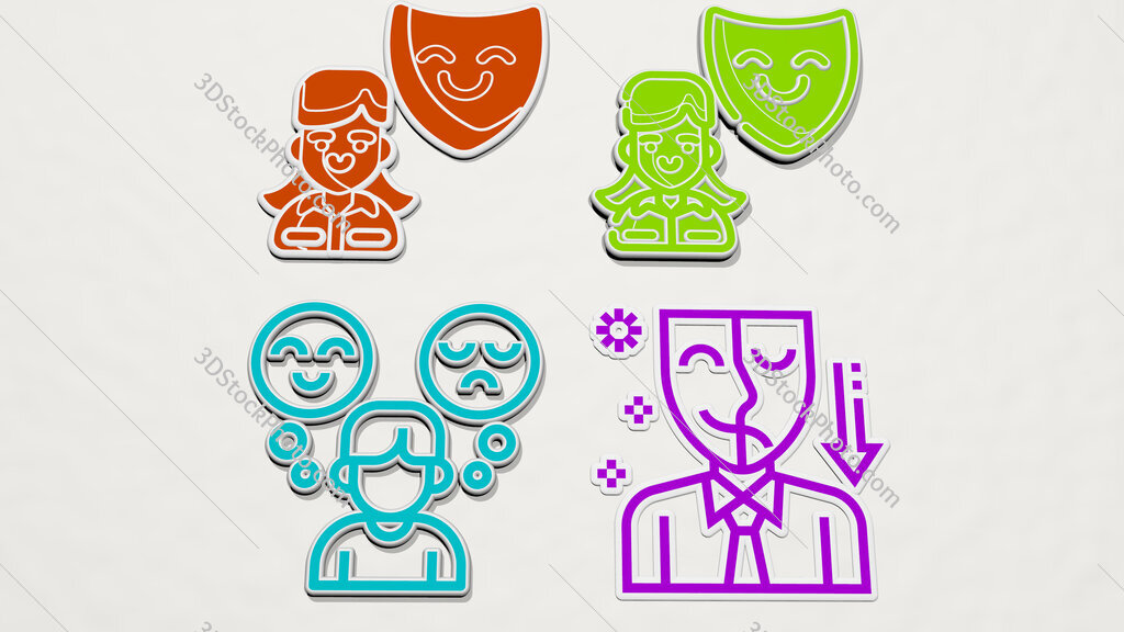 Personality colorful set of icons