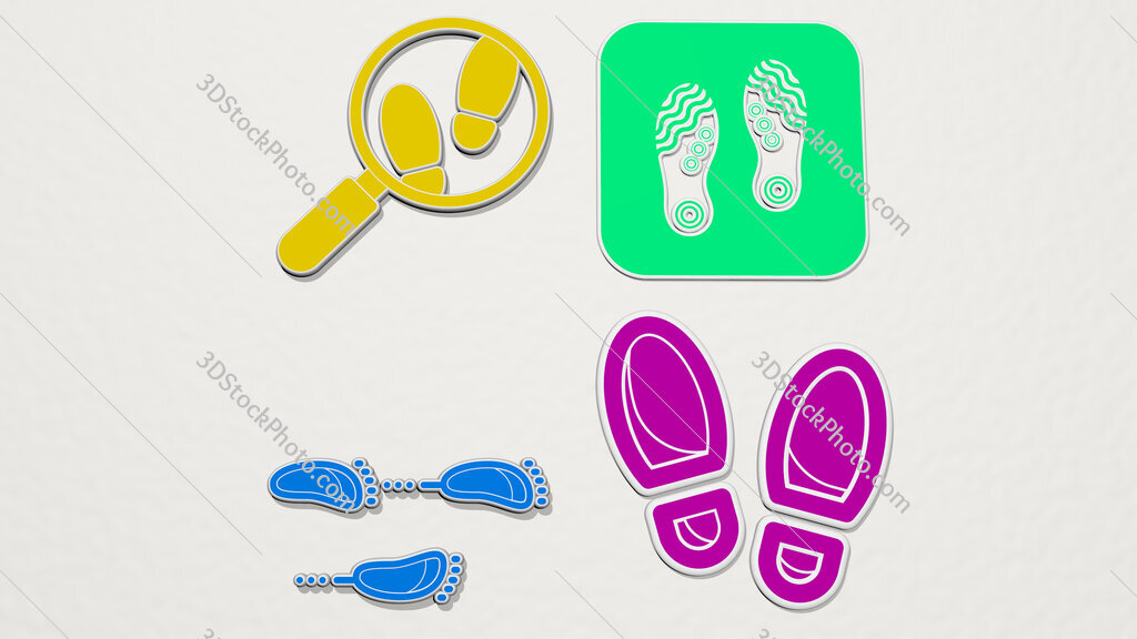 footprints colorful set of icons