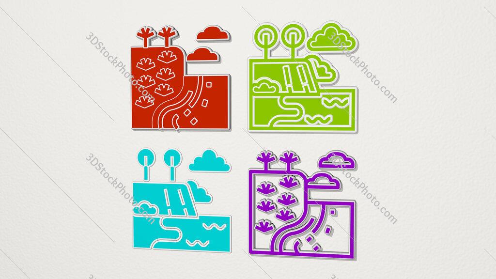 waipio colorful set of icons