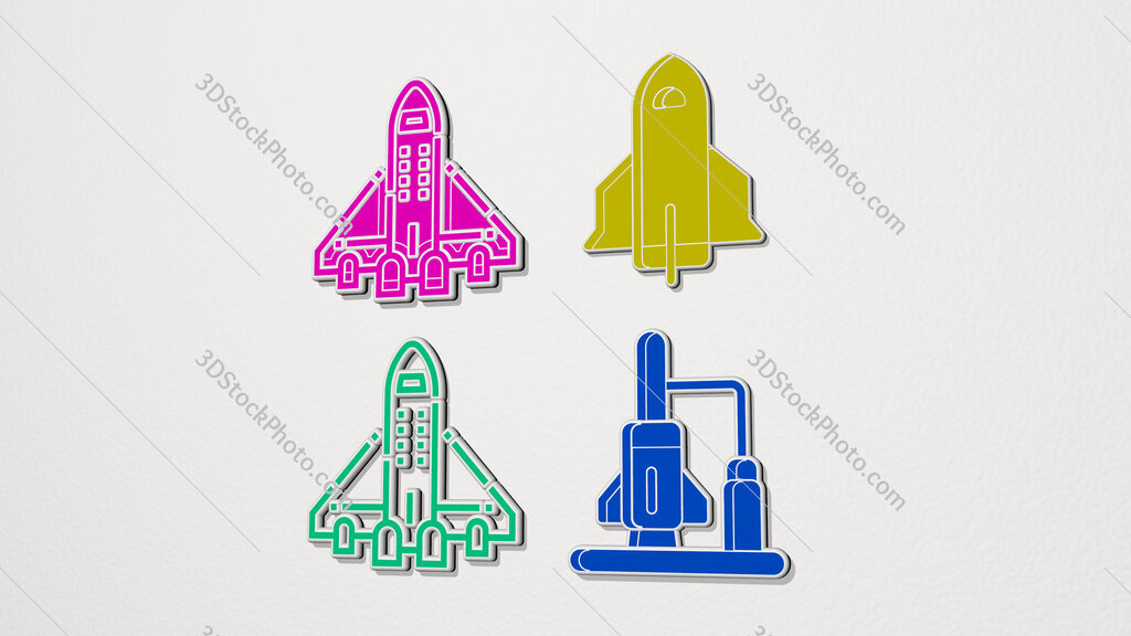 spacecraft colorful set of icons