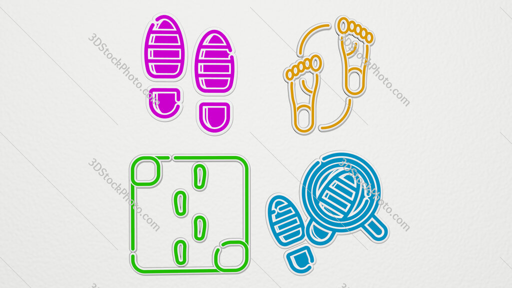 footsteps colorful set of icons