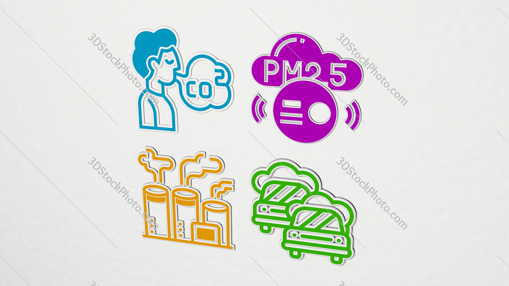 air pollution colorful set of icons