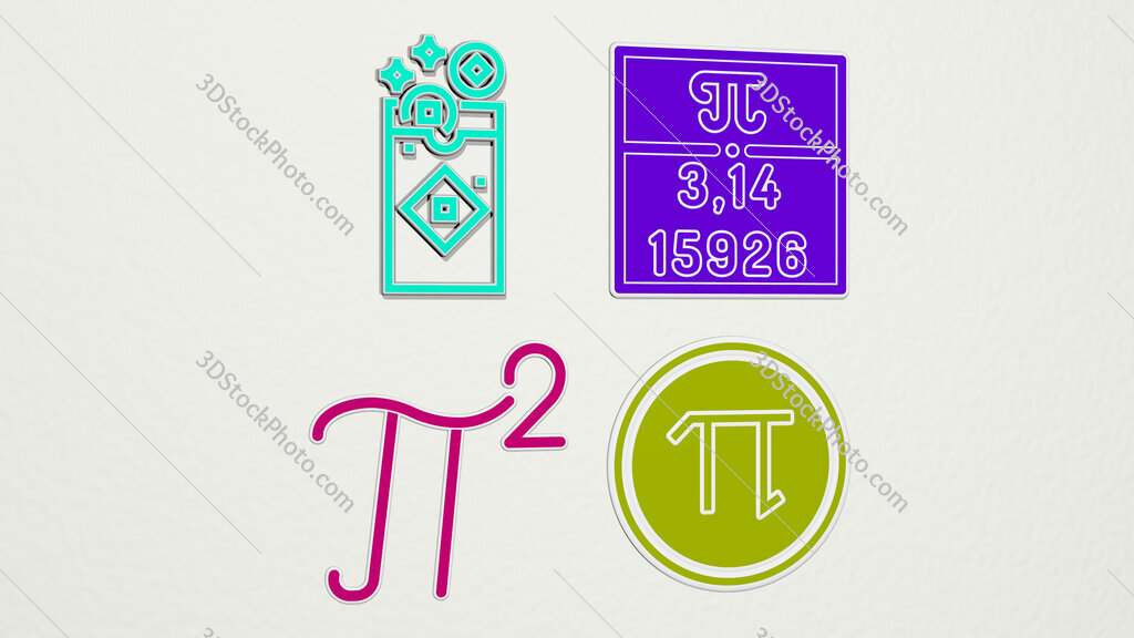 pi colorful set of icons