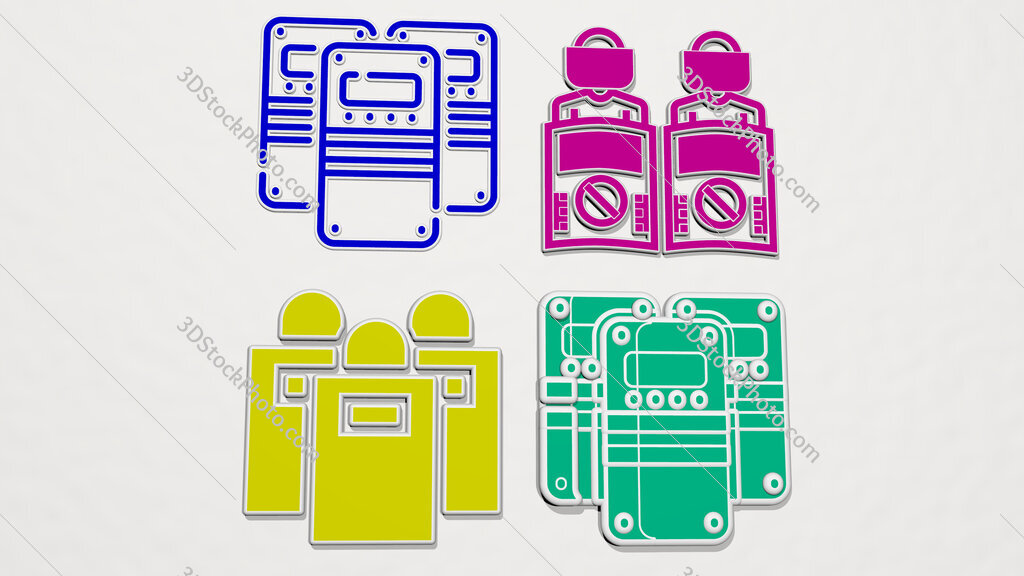 riot police colorful set of icons