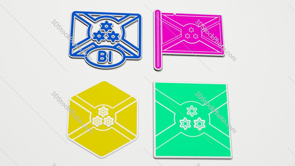 burundi colorful set of icons
