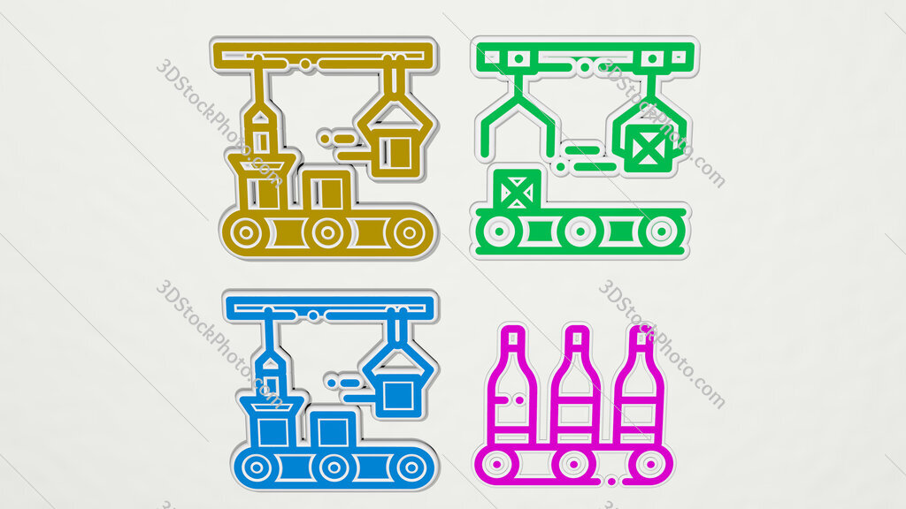 mass production colorful set of icons