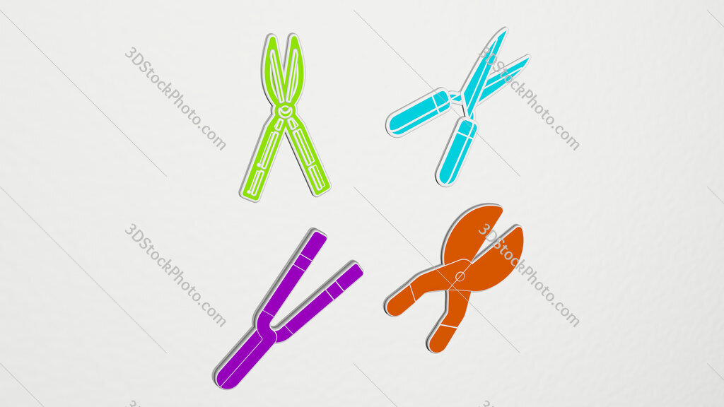 shears colorful set of icons