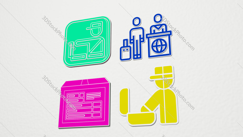 customs colorful set of icons