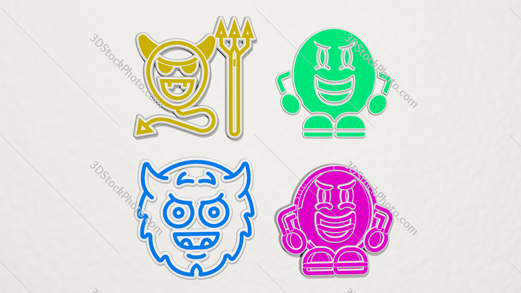 evil colorful set of icons