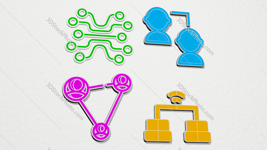 networking colorful set of icons