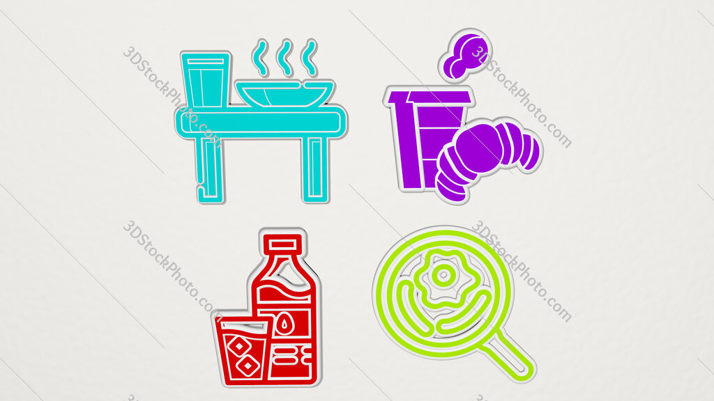 breakfast colorful set of icons