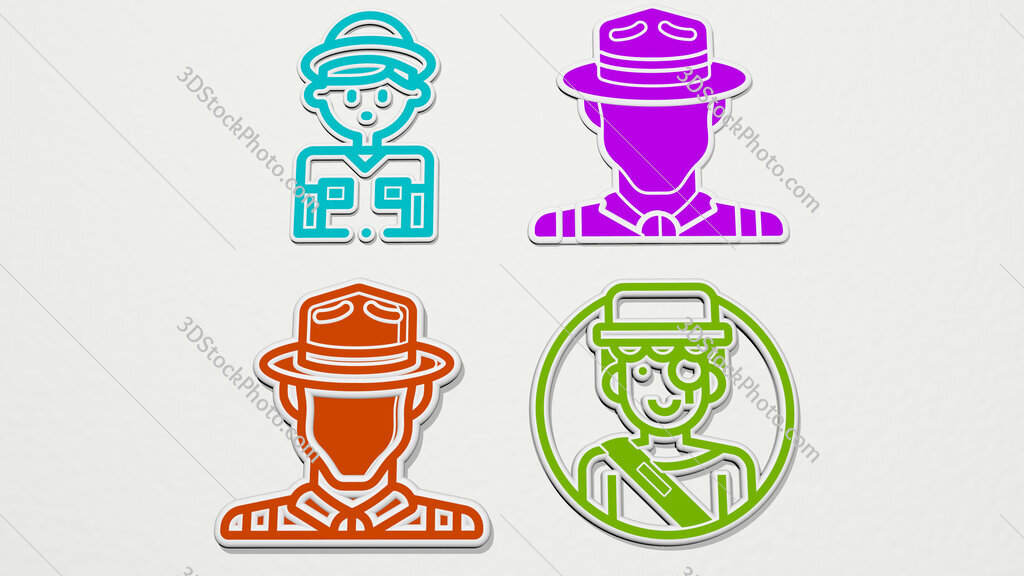 Explorer colorful set of icons