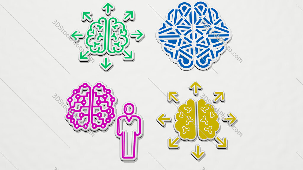 human brain colorful set of icons