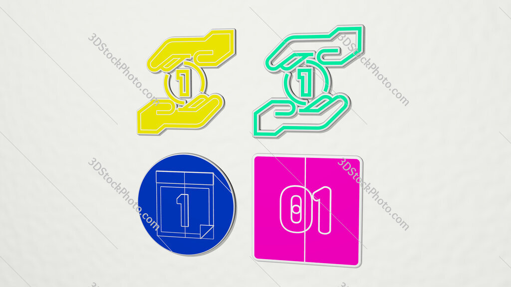 number 1 colorful set of icons