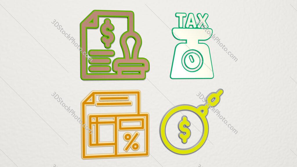taxes 4 icons set