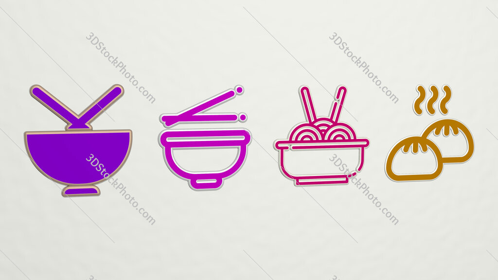 chinese food 4 icons set