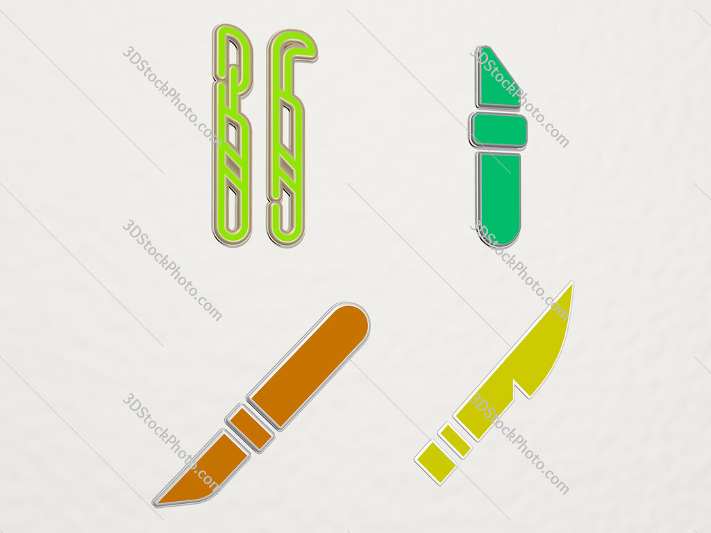 scalpel 4 icons set