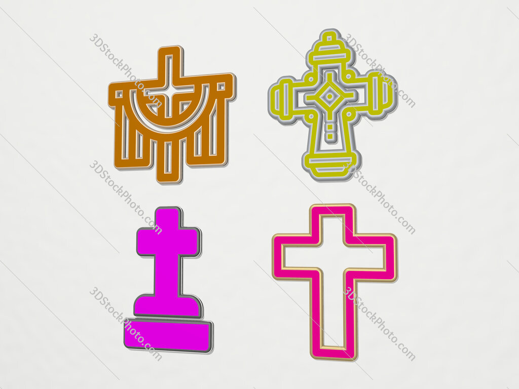 christian cross 4 icons set