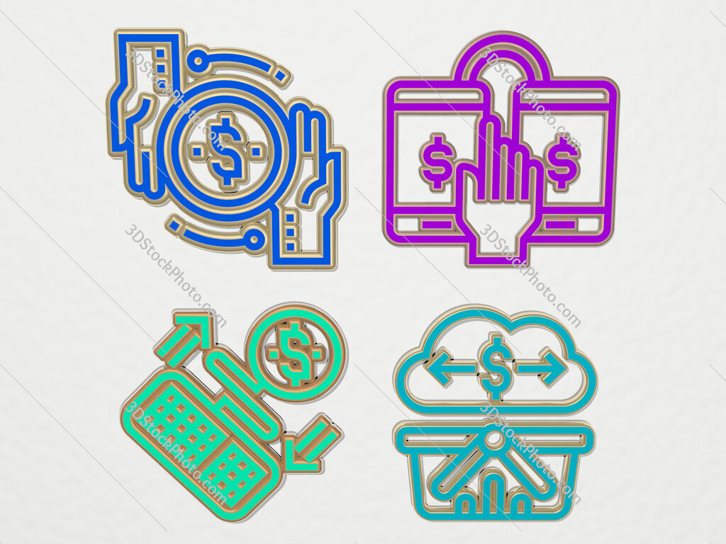 transaction 4 icons set