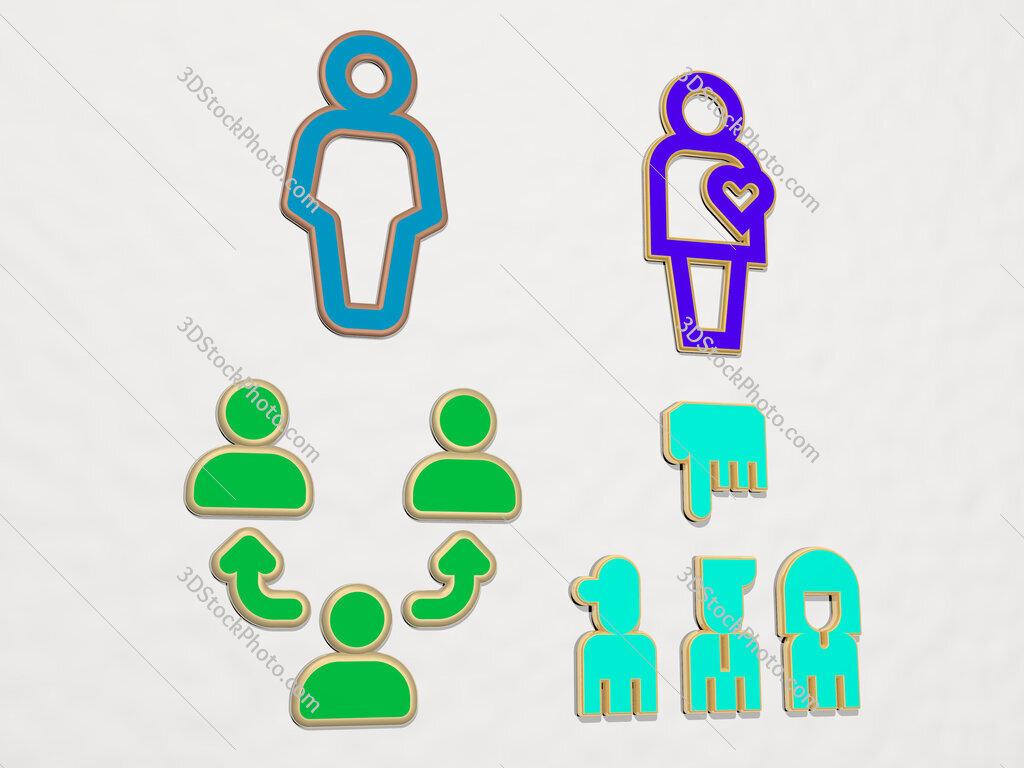 human 4 icons set