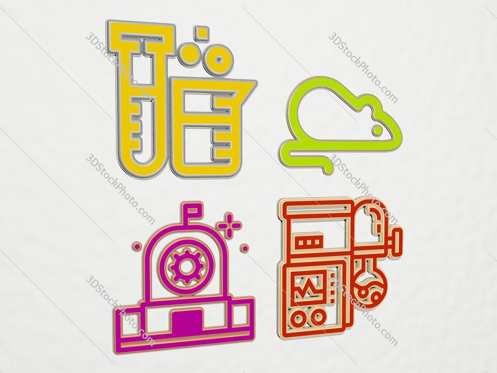 laboratory 4 icons set