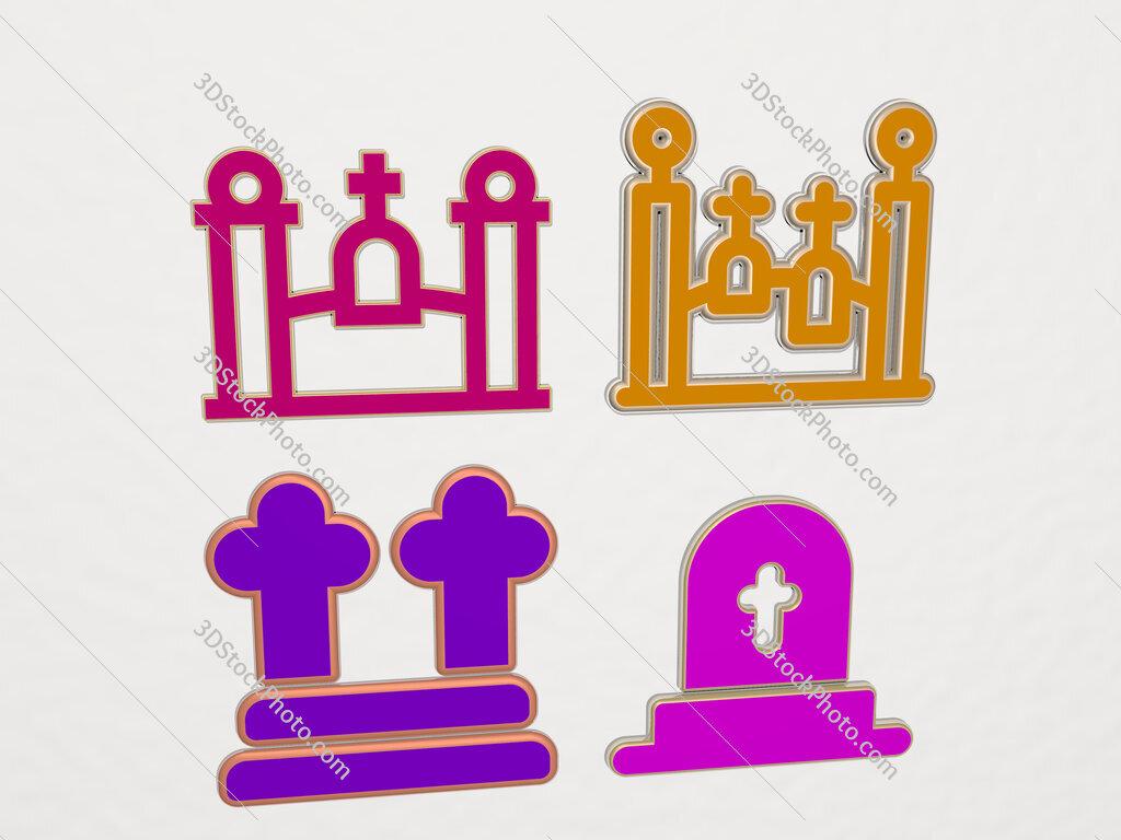 cementery 4 icons set