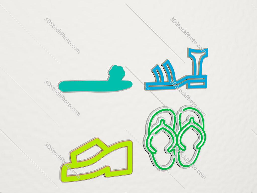 sandal 4 icons set