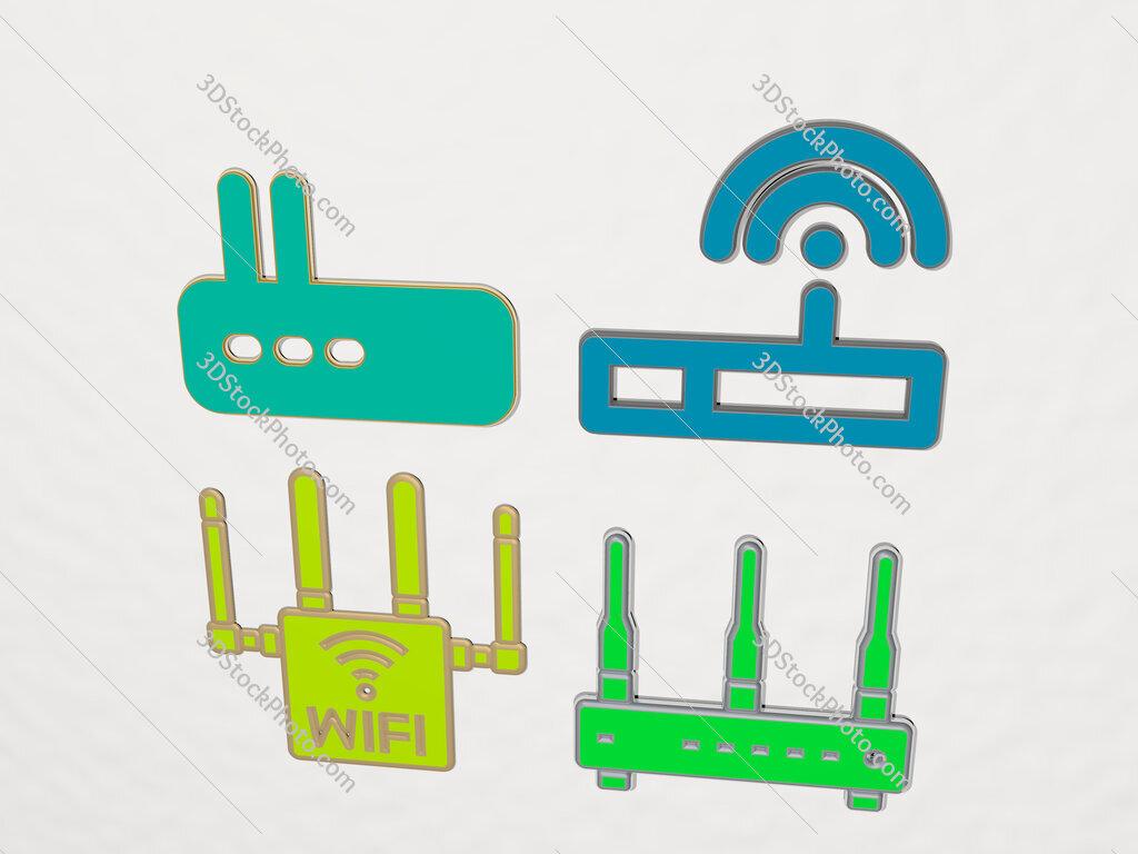 wifi router 4 icons set
