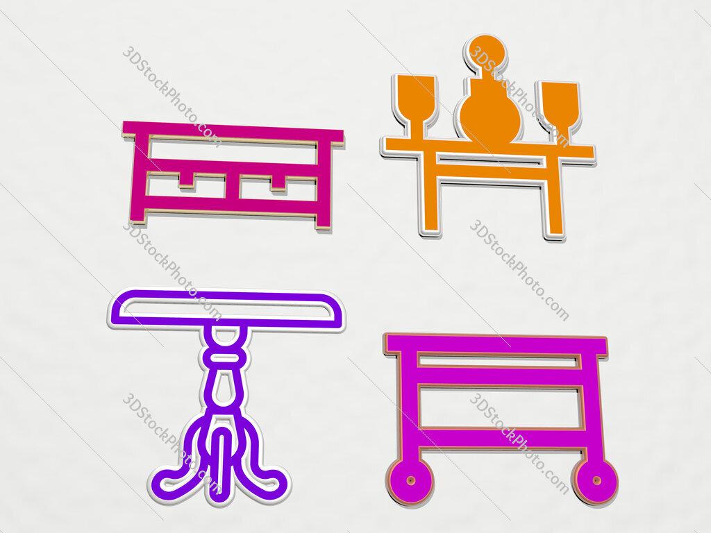coffee table 4 icons set