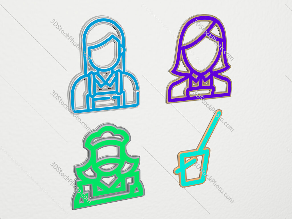 maid 4 icons set