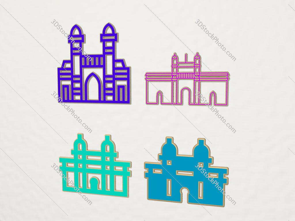 gateway of india 4 icons set
