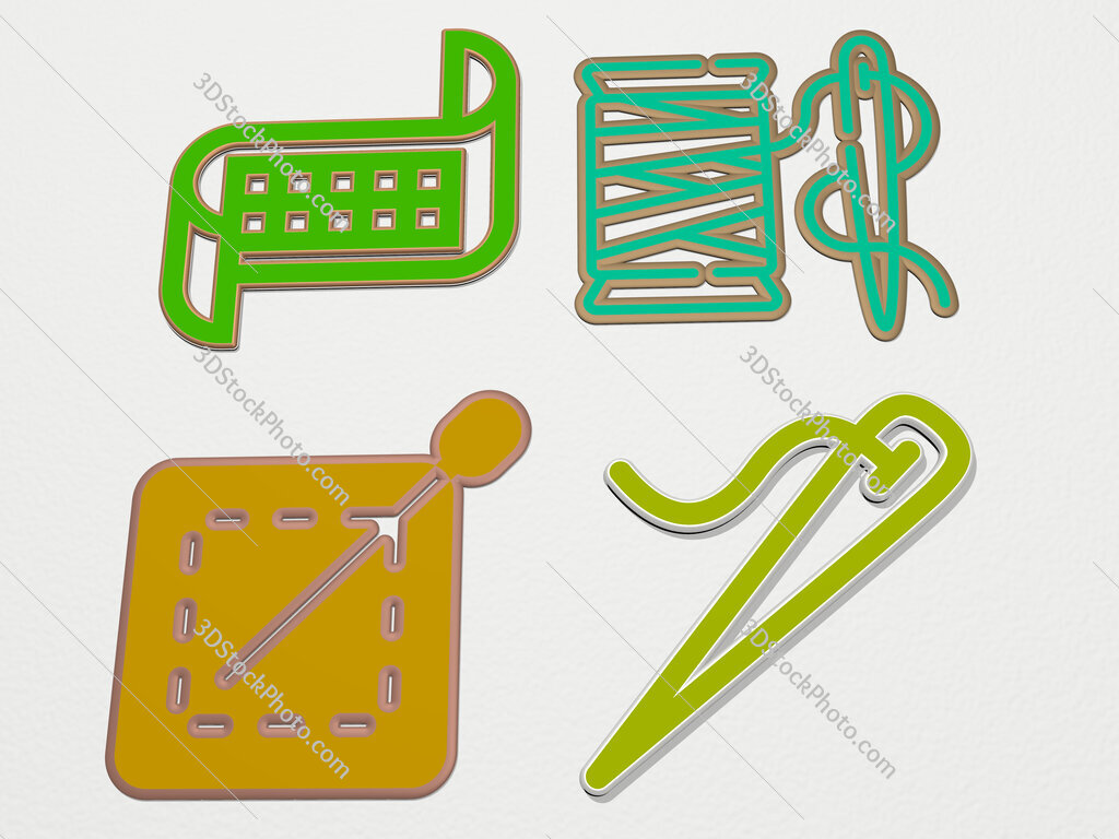 sewing 4 icons set