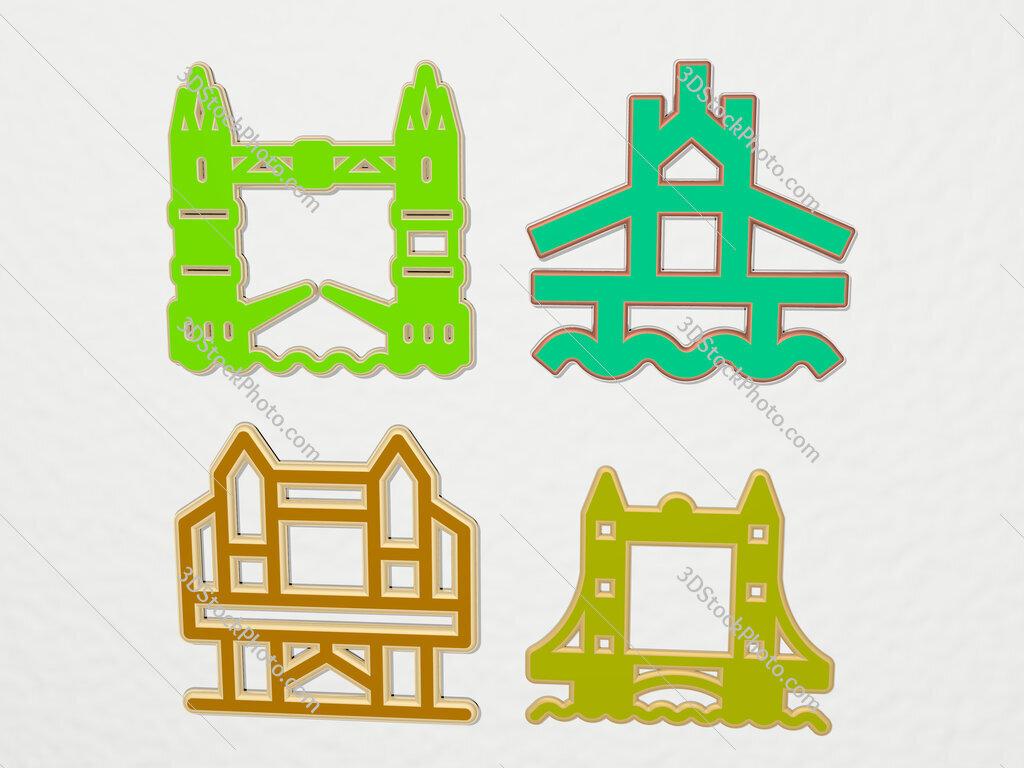 london bridge 4 icons set