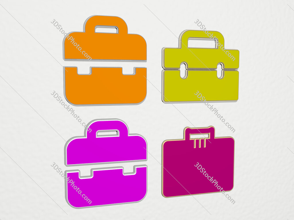 office briefcase 4 icons set