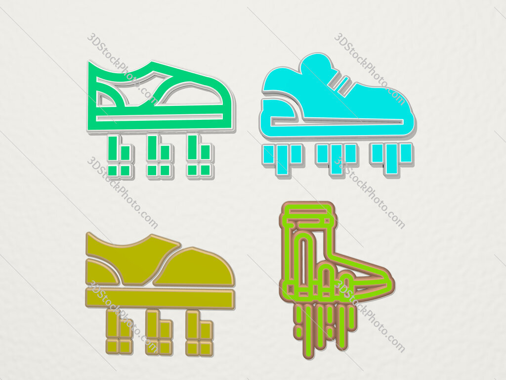 flying shoes 4 icons set