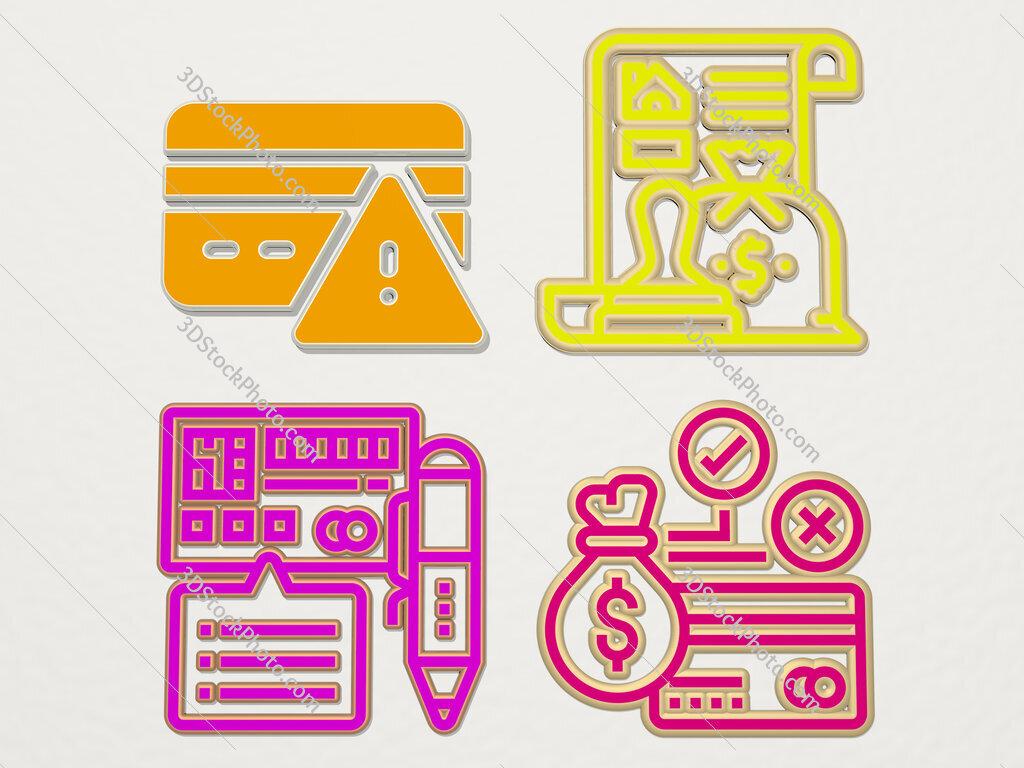 credit 4 icons set