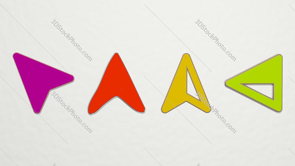 navigation arrow 4 icons set