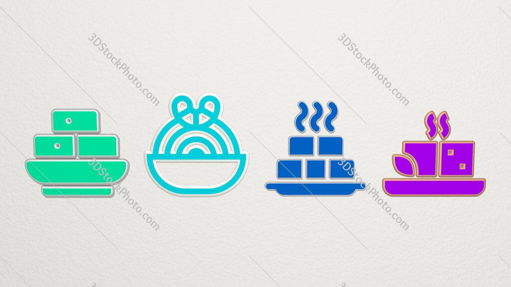 tofu 4 icons set