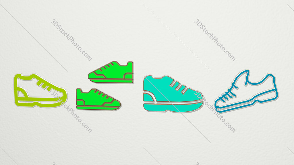 running shoes 4 icons set