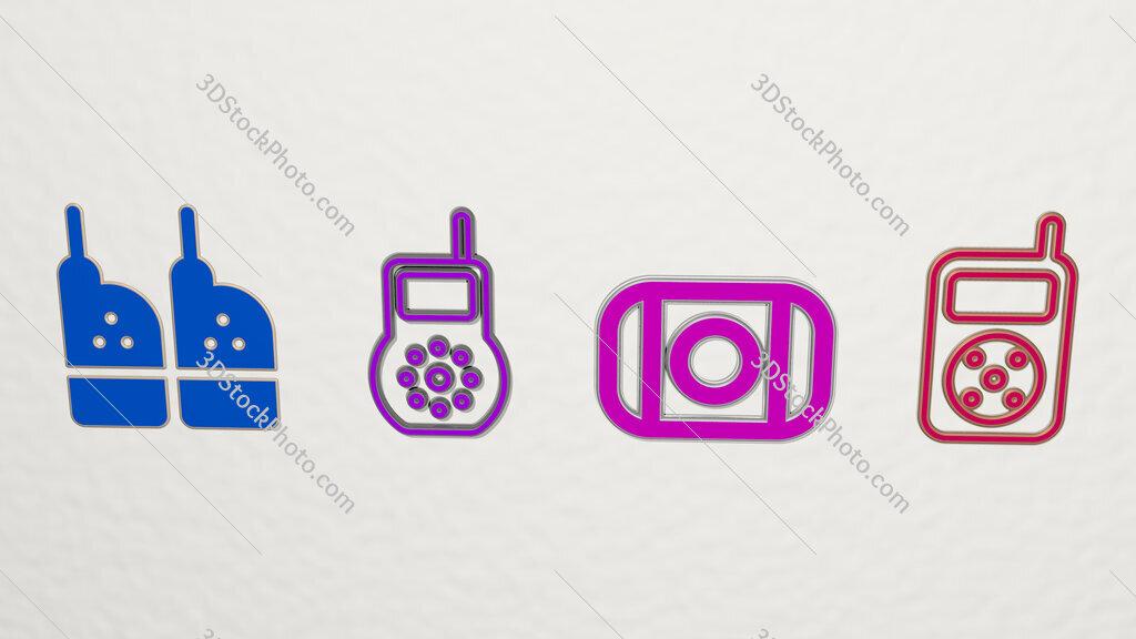 baby monitor 4 icons set